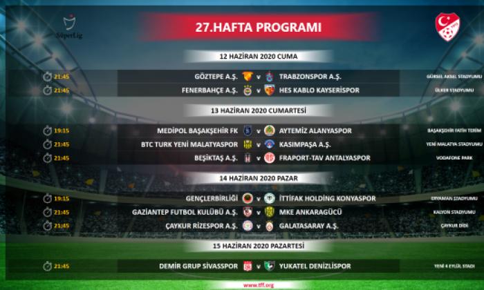 Süper ligde program açıklandı
